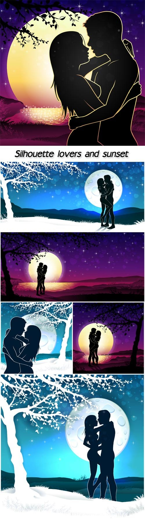 Silhouette lovers and sunset