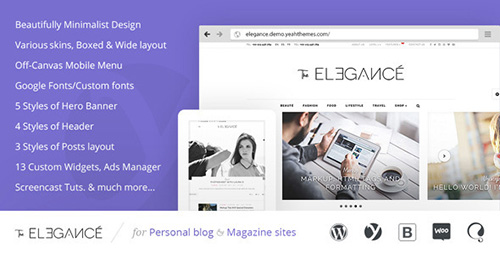 ThemeForest - Elegance v1.0.1.8 - A Flawlessly Minimalist Blogging theme - 10438295