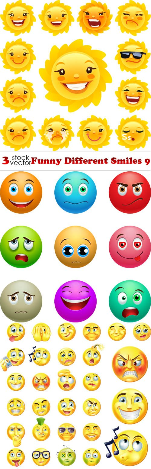 Vectors - Funny Different Smiles 9