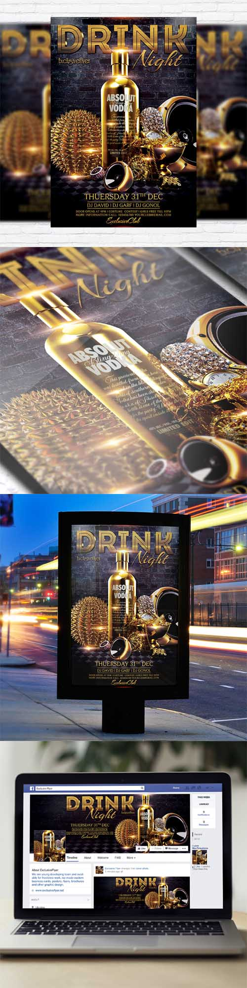 Flyer Template - Drink Night + Facebook Cover