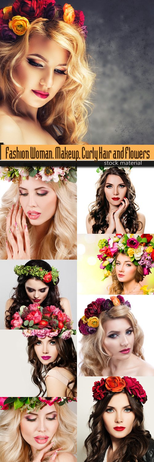 Fashion Woman. Makeup, Curly Hair and Flowers