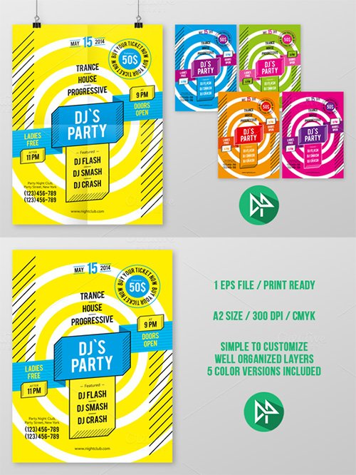 DJ's Party Poster Template - Creativemarket 42542