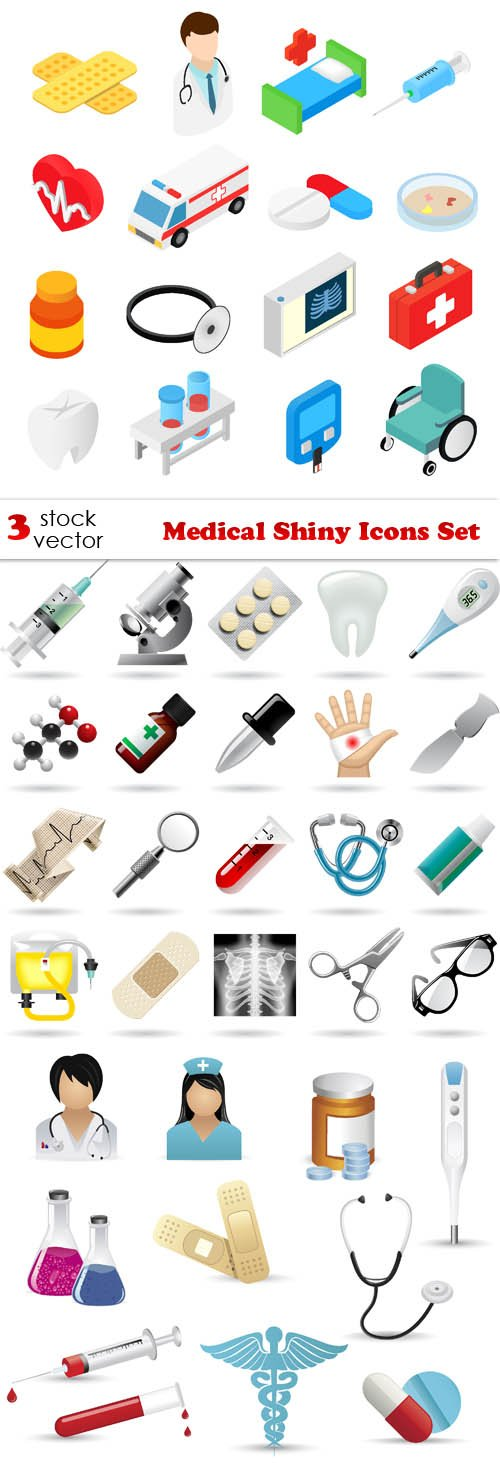 Vectors - Medical Shiny Icons Set