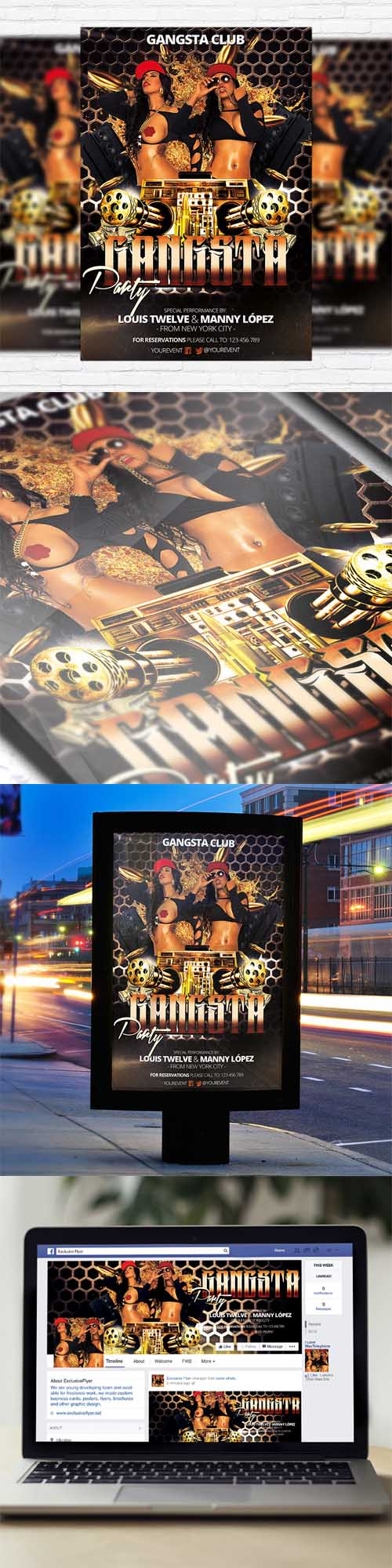 Flyer Template - Gangsta Party + Facebook Cover