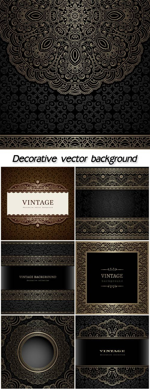 Decorative vector background, vintage patterns