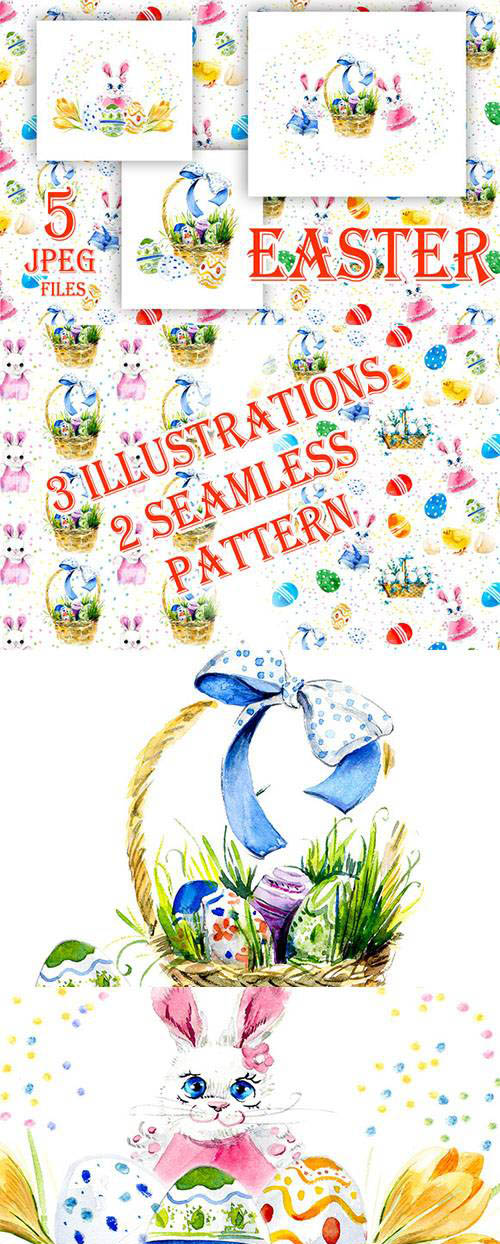 Seamless pattern and illustrations Happy Easter 554531
