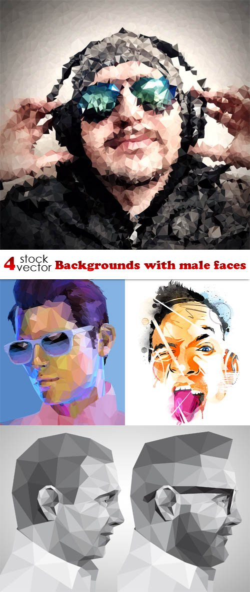 Vectors - Backgrounds with male faces