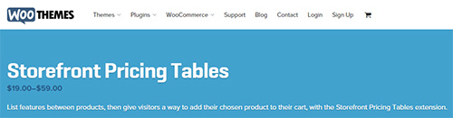 WooThemes - Storefront Pricing Tables v1.0.3