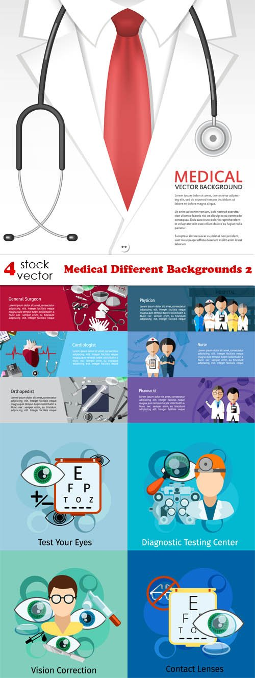 Vectors - Medical Different Backgrounds 2