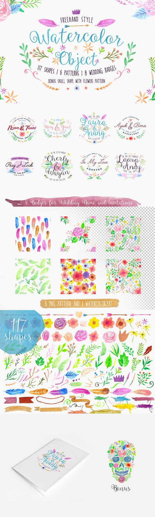 Freehand Watercolor Style Objects - Creativemarket 198368