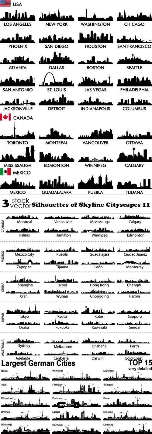 Vectors - Silhouettes of Skyline Cityscapes 11