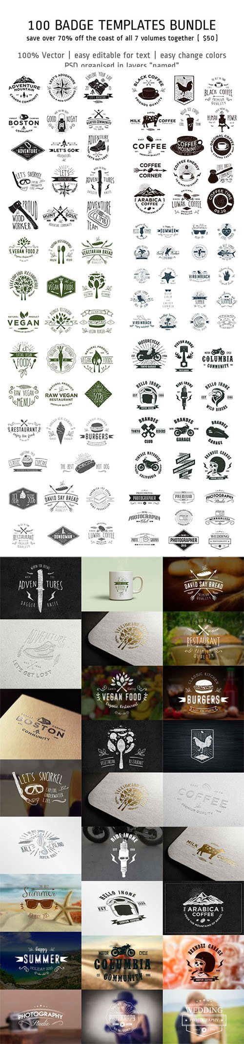 100 Badge Templates Bundle - Creativemarket 302552