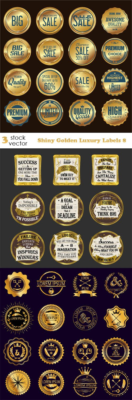 Vectors - Shiny Golden Luxury Labels 8