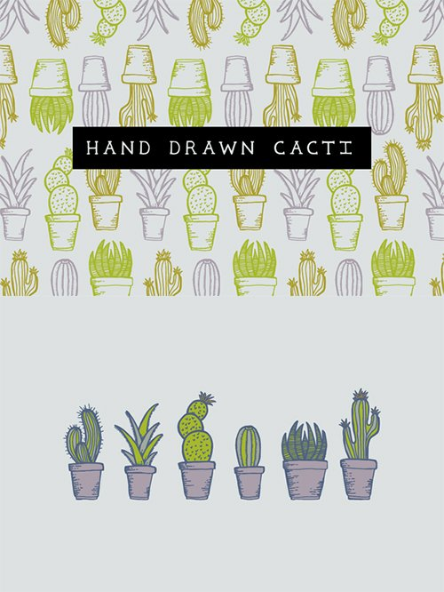 Hand drawn cacti - Creativemarket 414721