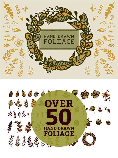 Hand drawn foliage - Creativemarket 402998