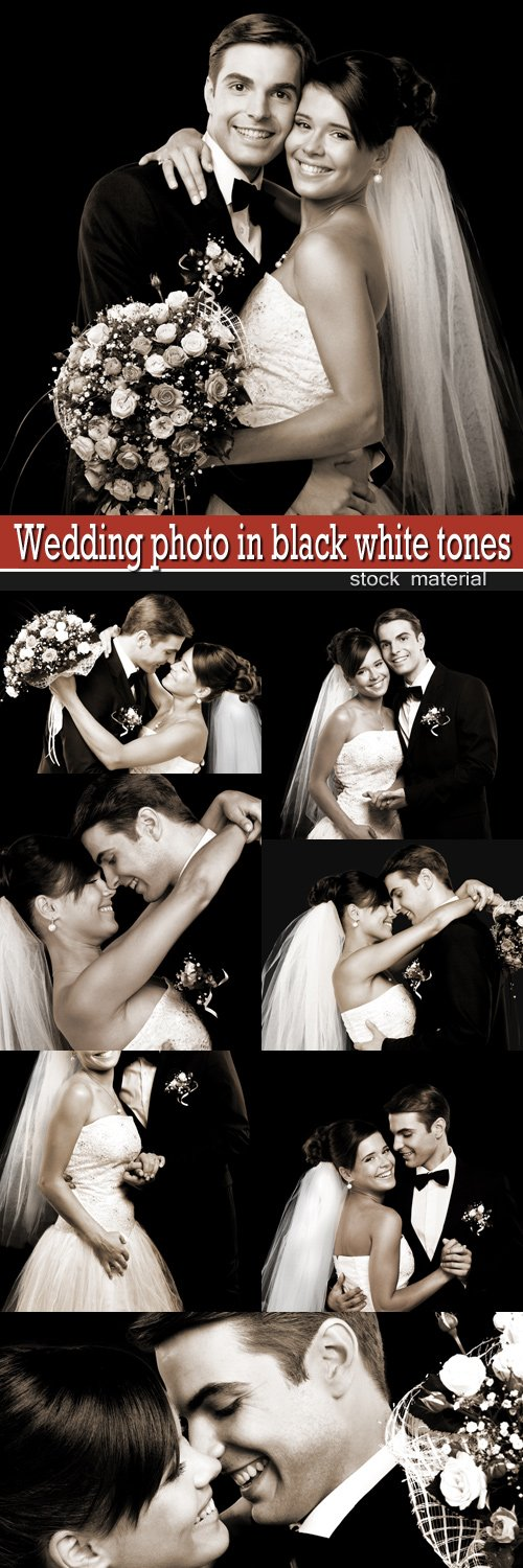 Wedding photo in black white tones