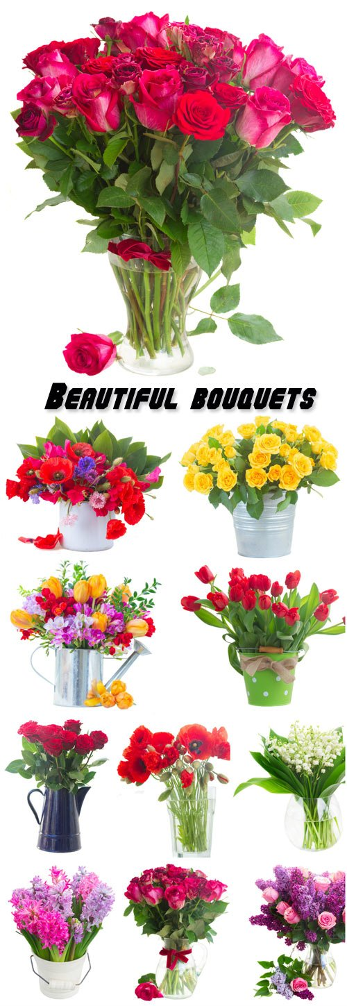 Beautiful bouquets, roses, tulips, poppies