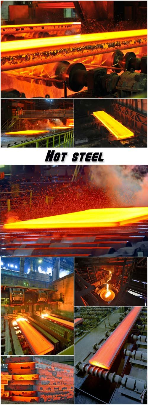 Hot steel, stack of heavy plates