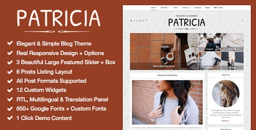 ThemeForest - Patricia v1.1.0 - Feature Rich WordPress Blog Theme - 13226491