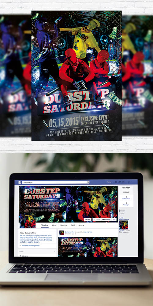Flyer Template - Dubstep Dance Party + Facebook Cover