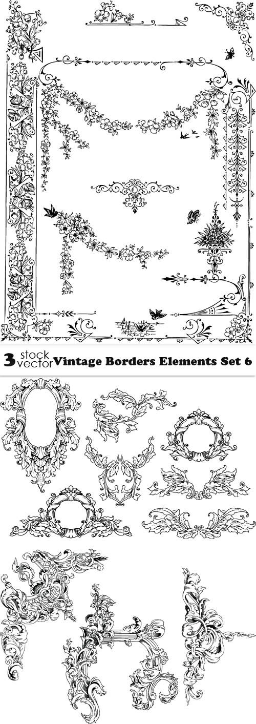 Vectors - Vintage Borders Elements Set 6