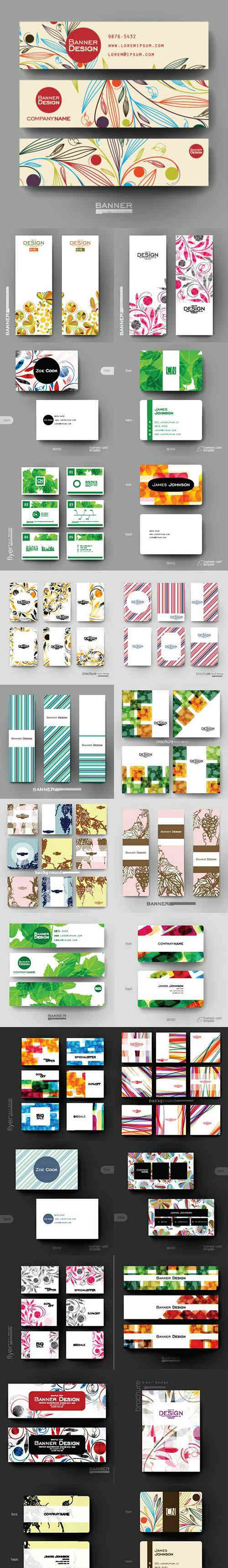Vector Floral Design Flyer business card and banner template 2