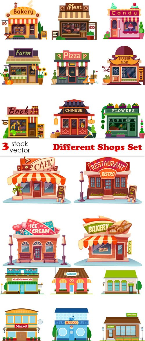 Vectors - Different Shops Set