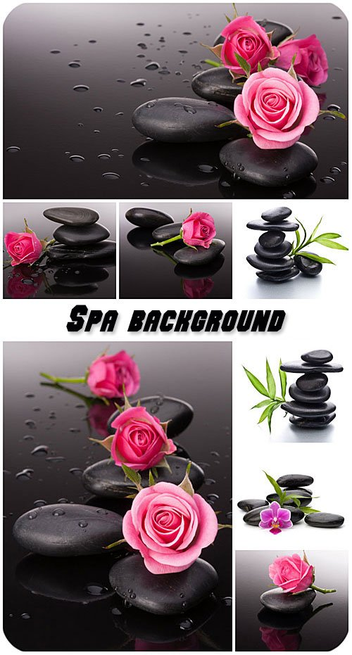 Spa background with stones and roses
