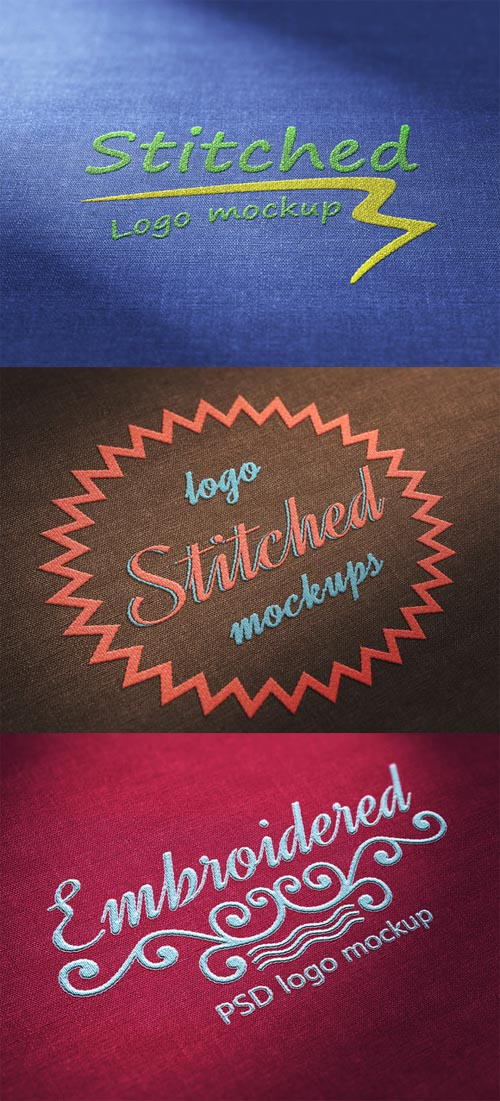 3 x Stiched Logo Mockups 545205