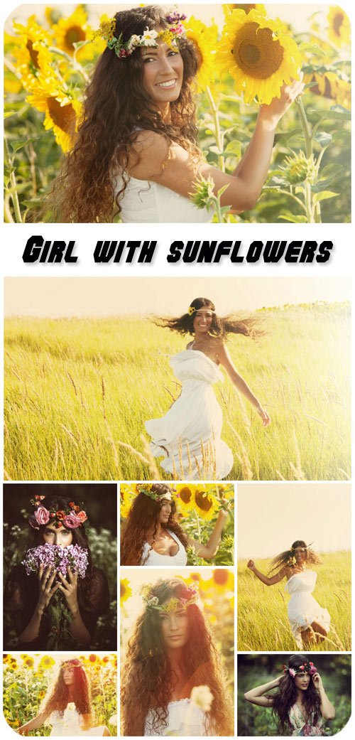 Girl with sunflowers, wonderful nature