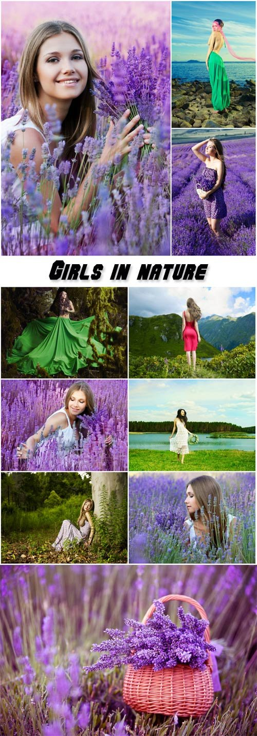 Beautiful girl on the nature, lavender