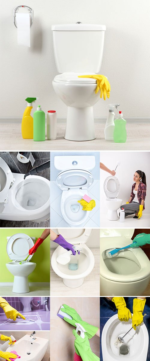 Stock Image Hands in yellow gloves washing a toilet bowl