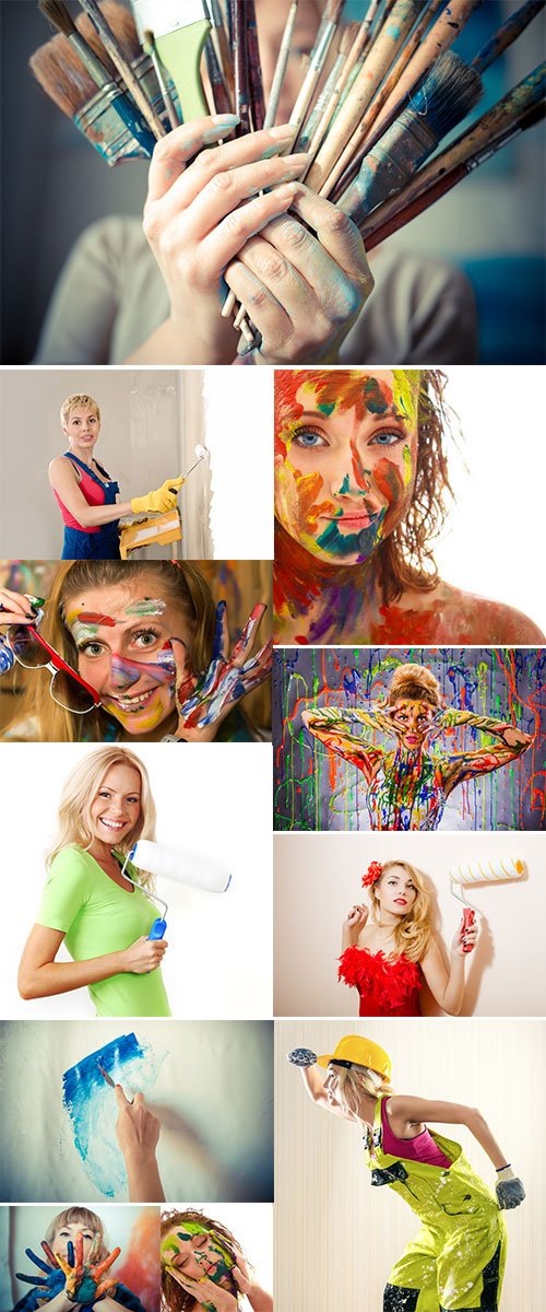 Stock Image Beautiful blonde woman painter