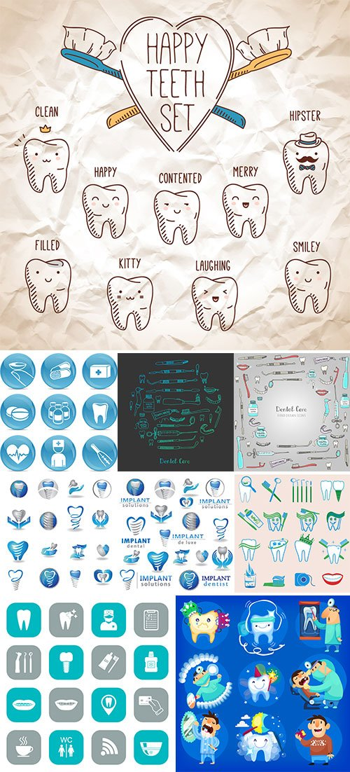 Stock Dental elements and icon vector