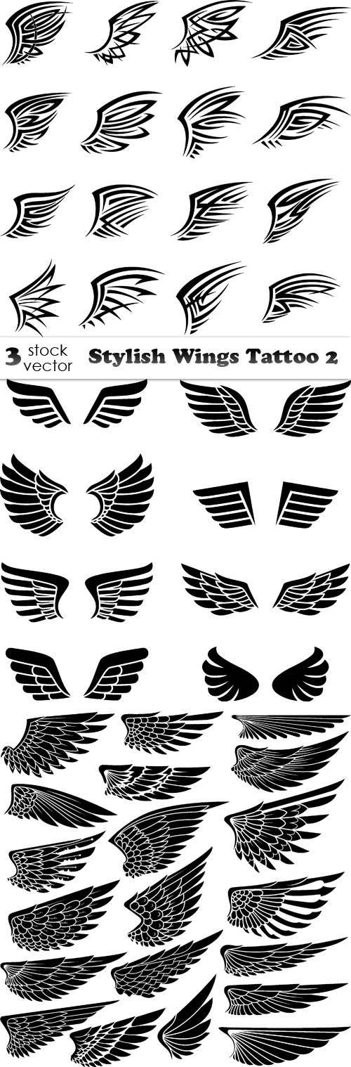 Vectors - Stylish Wings Tattoo 2