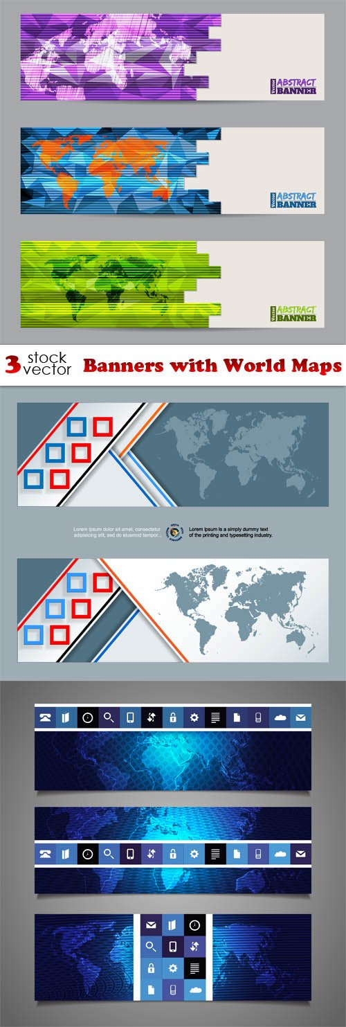 Vectors - Banners with World Maps