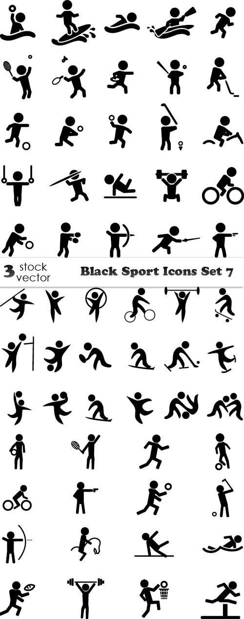Vectors - Black Sport Icons Set 7