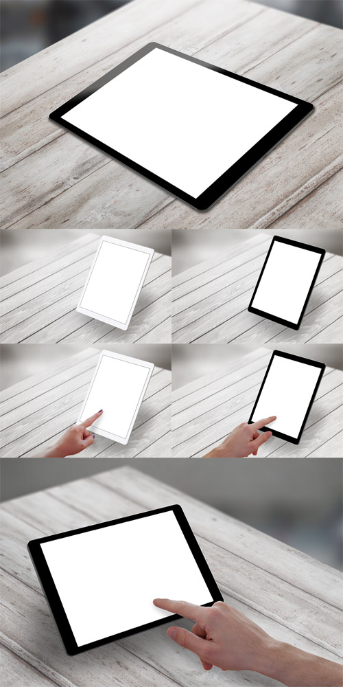 Photos Tablet with White Isolated Screen on Wooden Desk