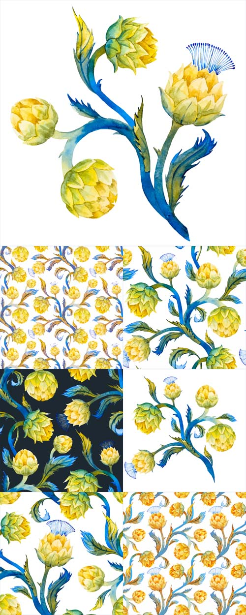 Vector Watercolor Art Nouveau Artichoke Patterns