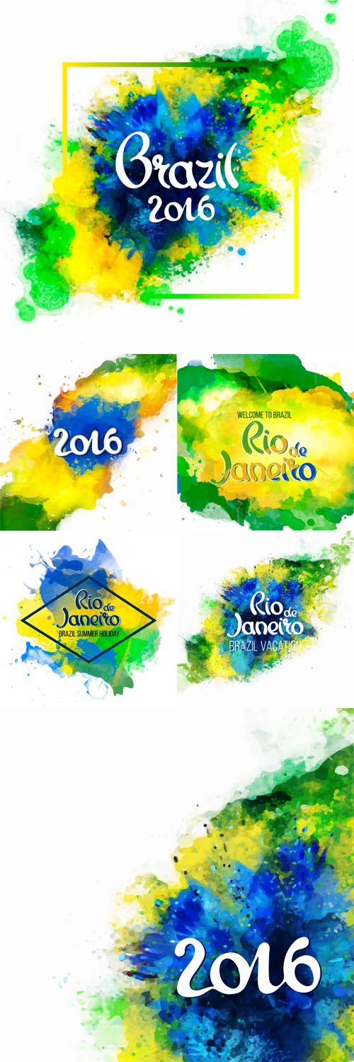 Vector Inscription Rio de Janeiro on a background watercolor