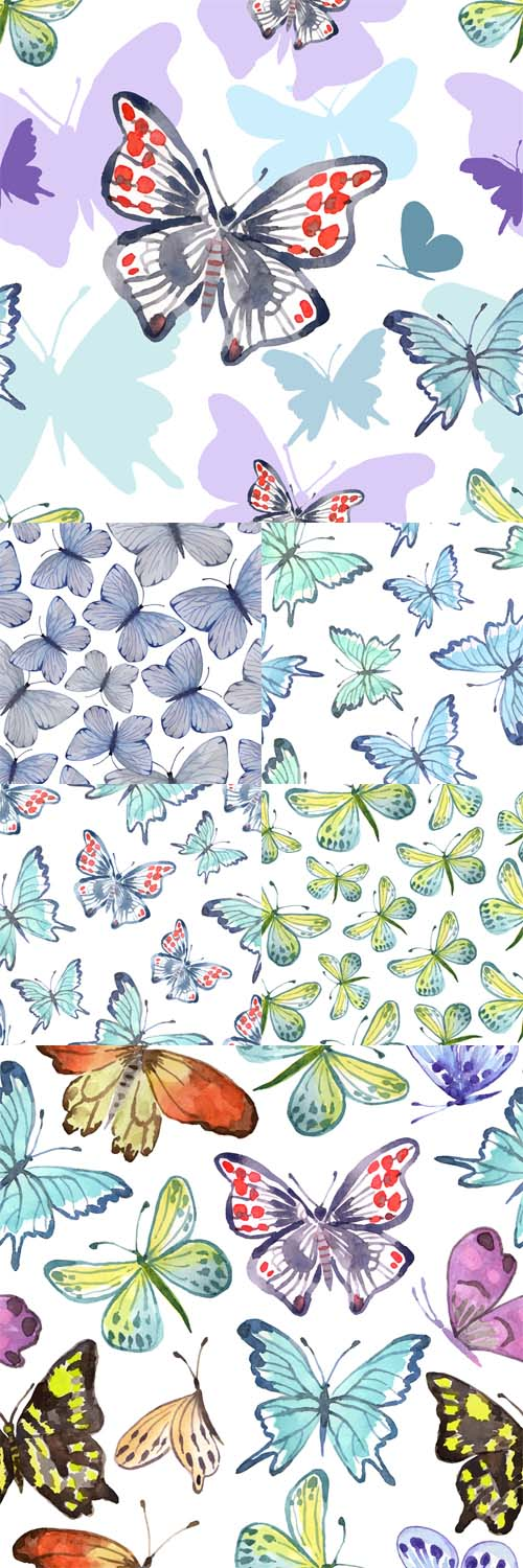 Vector Watercolor Seamless Pattern with Butterflies