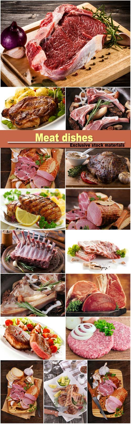 Meat dishes, lamb chops, smoked ham, lamb ribs with spices and herbs