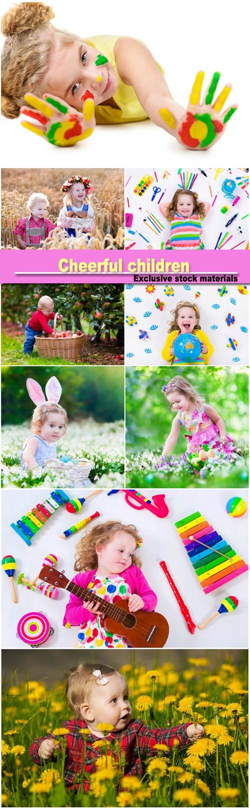 Cheerful children, children in nature