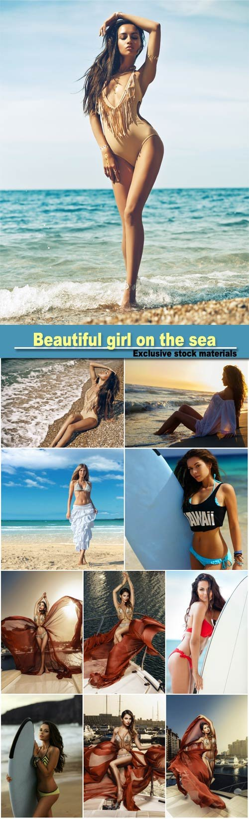 Beautiful girl on the sea, surfing