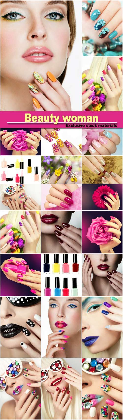 Beauty woman, professional makeup, manicure