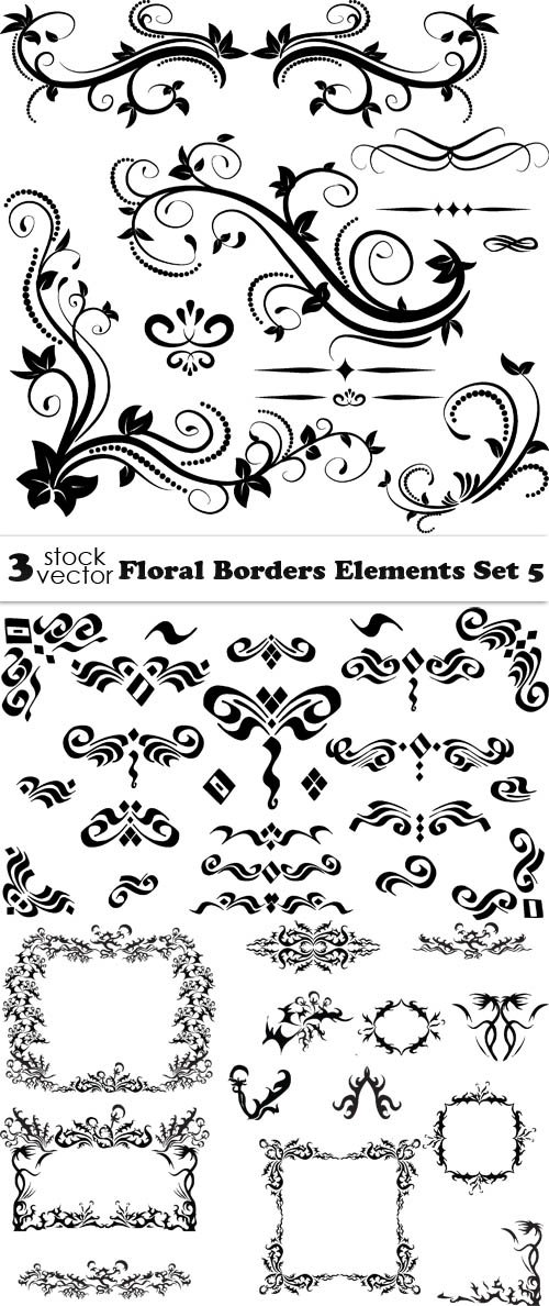 Vectors - Floral Borders Elements Set 5