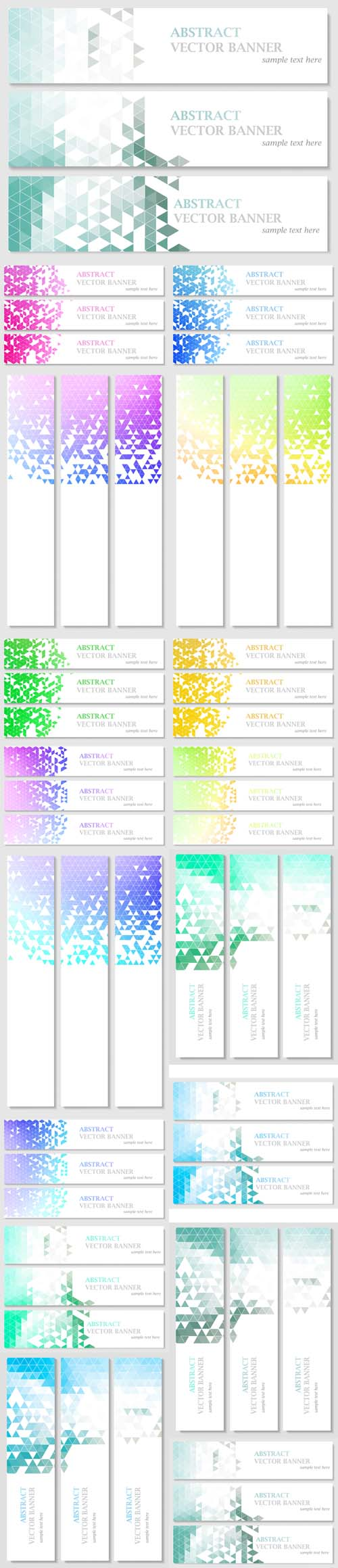 Vector Banners with Abstract Polygonal Mosaic Background