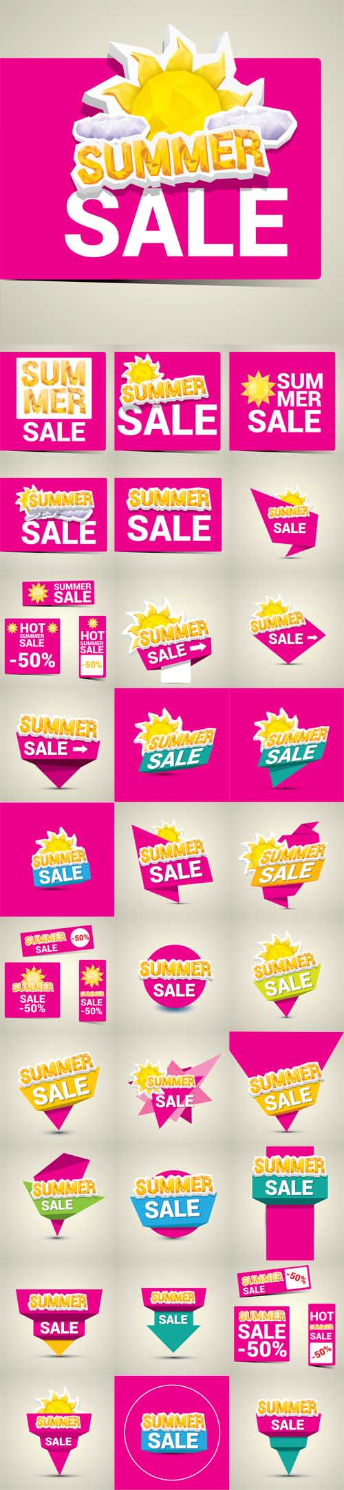 Vector 33 Hot Summer Sale Stickers