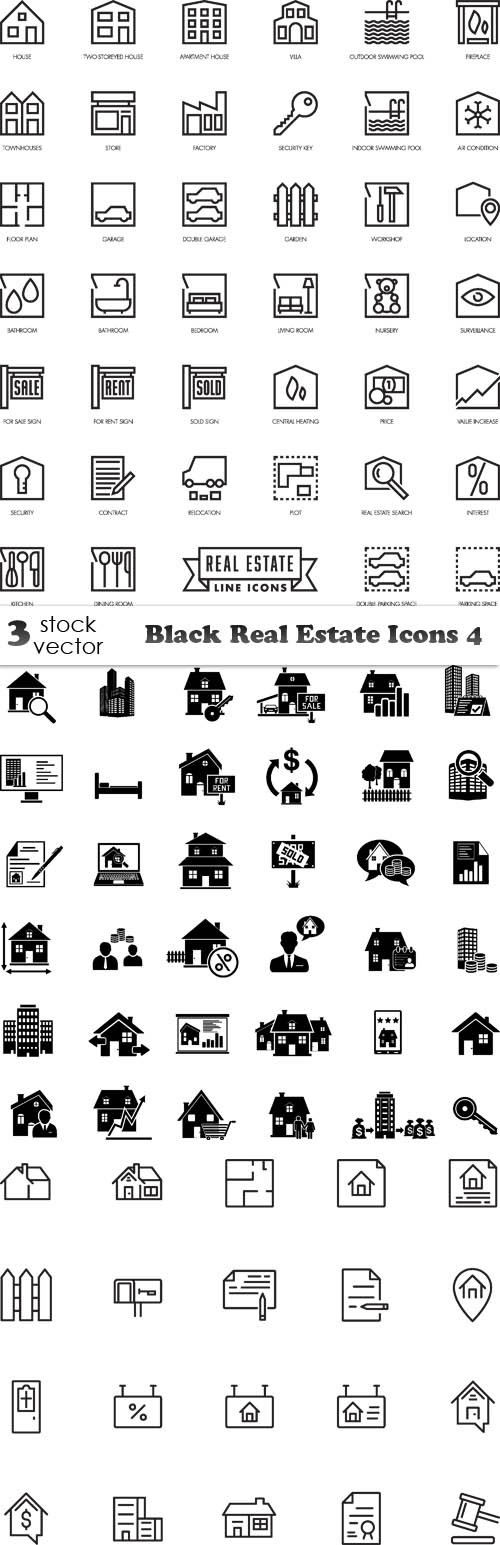 Vectors - Black Real Estate Icons 4