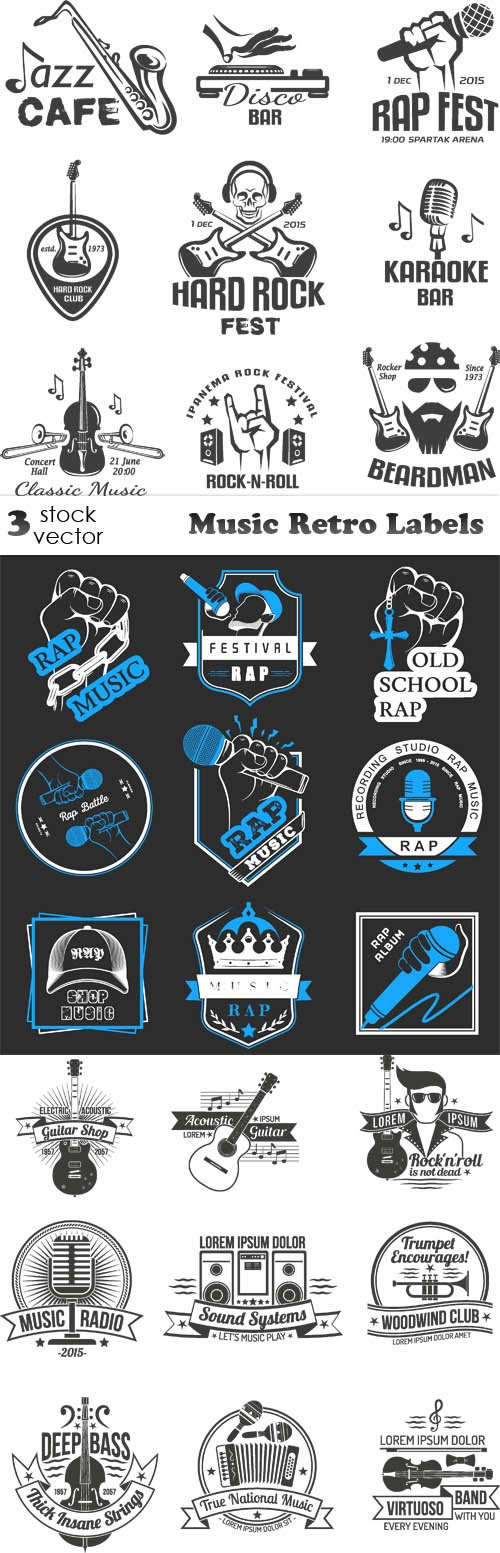 Vectors - Music Retro Labels